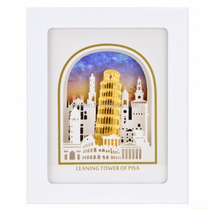 Italy Leaning Tower of Pisa 3D Gold Foil Leaf Frame Photo The Luxurious Home Decorative Picture