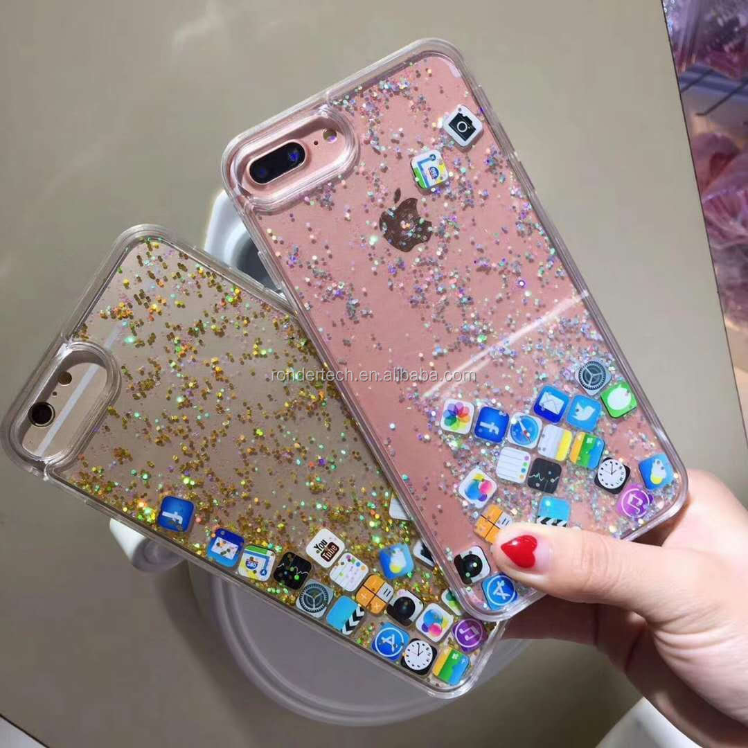 Phone Accessories Bling Glitter Liquid Clear Floating Quicksand Mobile  Phone Case for Iphone 4524f7a8c793