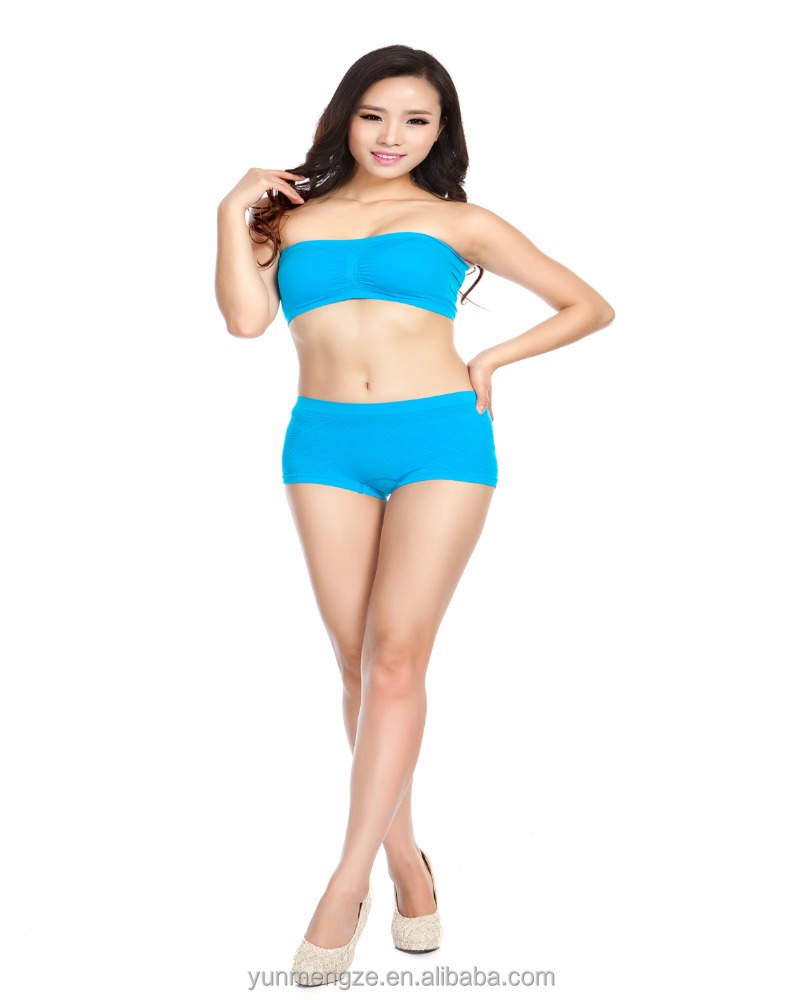 lady's seamless one piece padded tube bra strapless bra & boxer suit