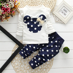Baby girl boutique clothing sets children cartoon dot long sleeve kids wear bangladesh girls for kids clothes A426