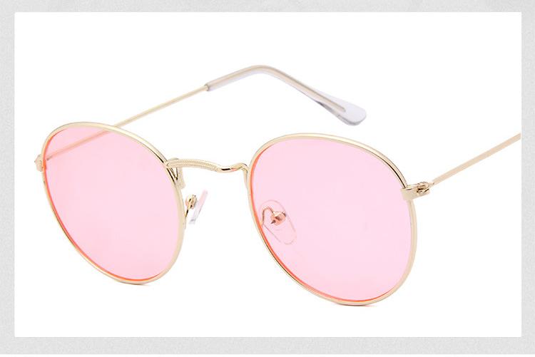 eac87a22bdf69 2018 Mulher Retro Óculos De Sol Redondos Óculos de Sol Colorido Lente Óculos  de Armação de