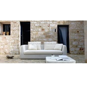 Terrace 3 Seater White Rattan China Sofa Set Outdoor Davenport