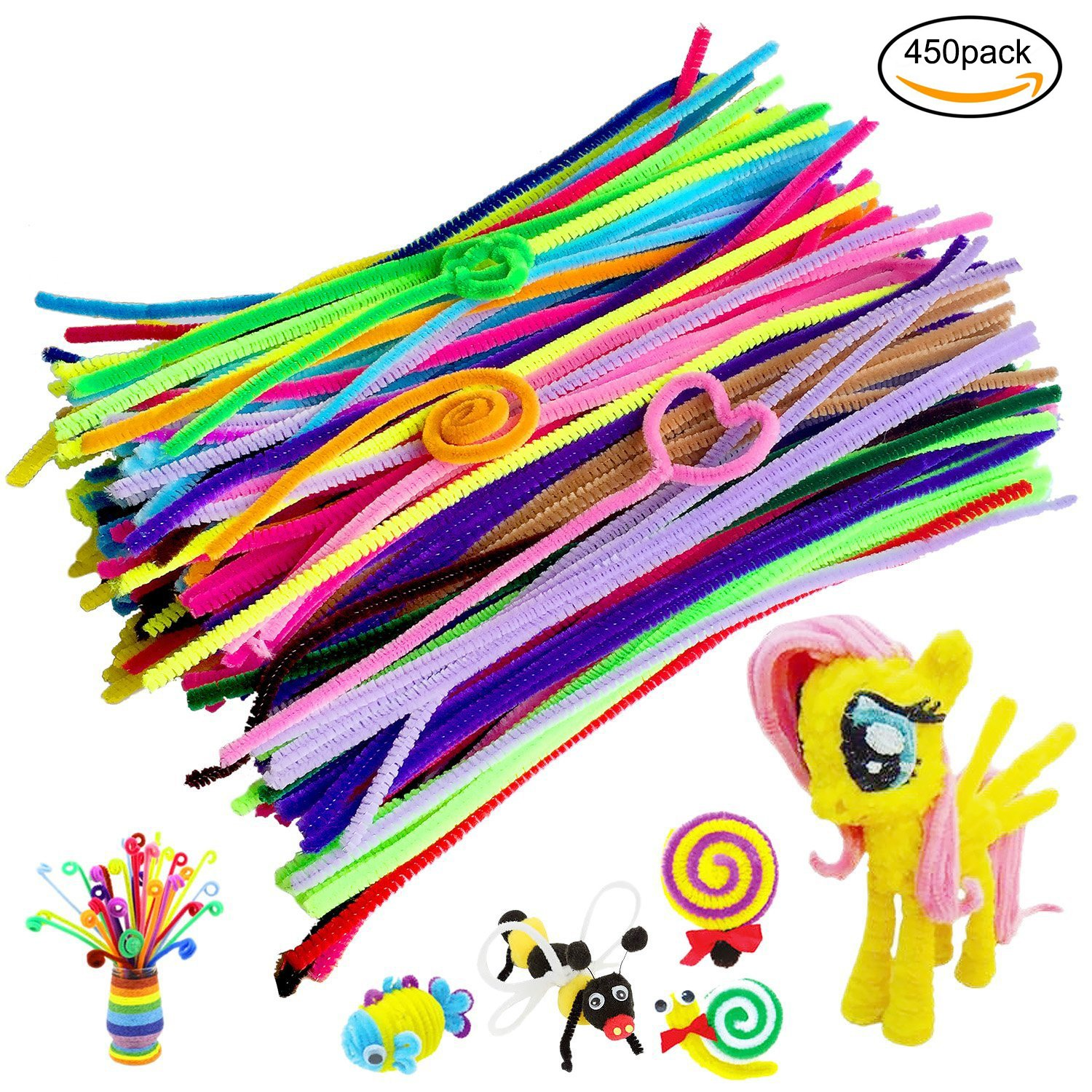 450Pcs Pipe Cleaners Craft Set,Including 100 Pcs Chenille Stems with 200 Pcs Pom Poms Craft and 150 Pcs Wiggle Googly Eyes Self Adhesive,Assorted Colors and Assorted Sizes for DIY Art Craft