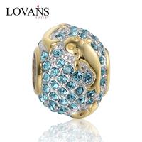 Fish Shape 14k Gold Plated Charms Wholesale Fit European Bracelet E034