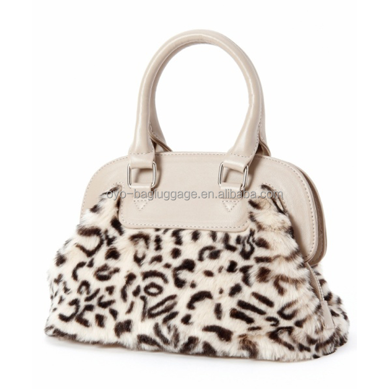 2017 New Arrival Soft artificial Faux Fur Animal Print Women Leather Handbag
