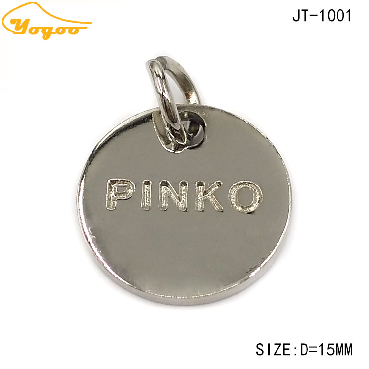 Fashionable Factory Direct Cut Out Round Silver Zinc Alloy Metal Logo Jewelry Tags