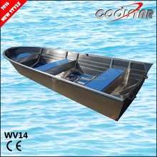 Aluminum fishing boat all welded with square gunwale and rubber coating