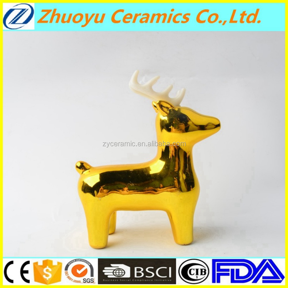 Ceramic Golden Christmas Decoration Deer Stand