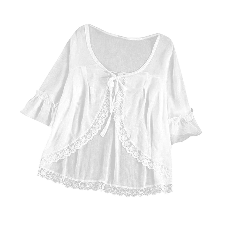 Kinrui women blouse and t-shirt Women's Loose Casual Solid 1/2 Sleeve Lace Insert Bandage Chiffon T-Shirt Tops Blouse