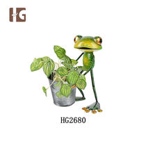 Modern sculpture decorative 20x18x25CMH flowers and plants frog office table decoration