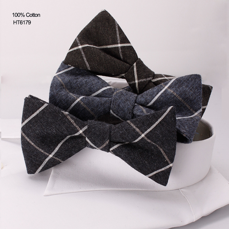 New Check Design Custom Mens Cotton Neckties Fabric Bow Ties