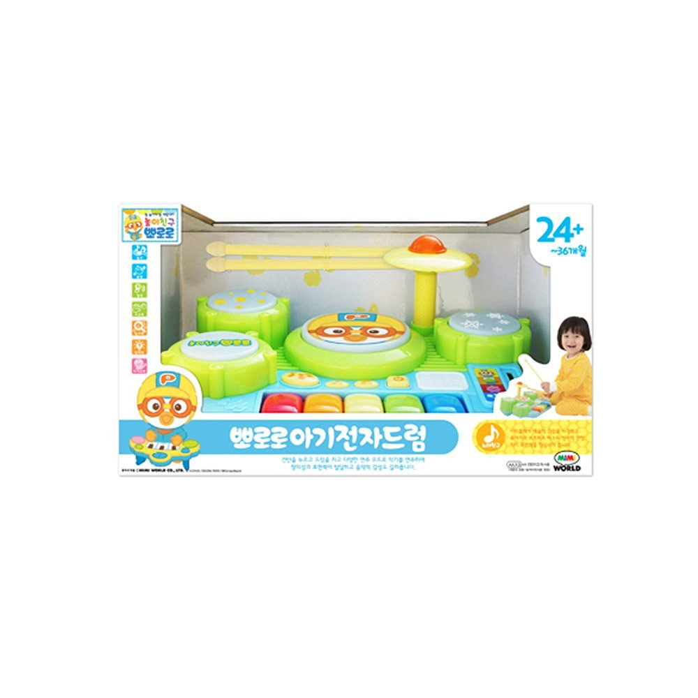 Mimi World Infant Pororo Drum Play Set Early Development Toy Baby and Kids Music and Sound Playing Mate Pororo-Singing Friends