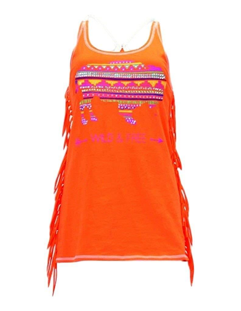b359a5bb32ed Get Quotations · Cowgirl Tuff Western Shirt Women Fringe Buffalo Tank Top  Orange 100106