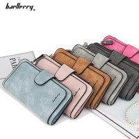 Baellerry 2018 New Style PU Leather fashion Long Style Wallet For Woman,Women's Vintage Button large capacity purse bag