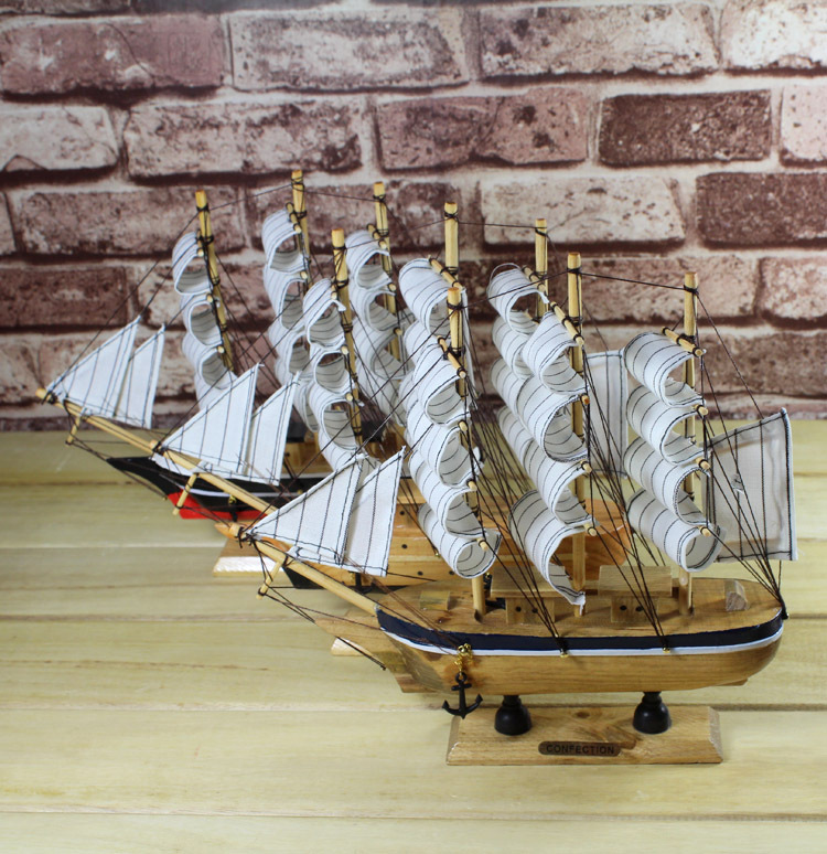 2pcs/lot Mediterranean Style 24cm Wooden Sailing Ship Handmade Carved Model Boat <font><b>Home</b></font> <font><b>Nautical</b></font> <font><b>Decoration</b></font> Crafts Gift