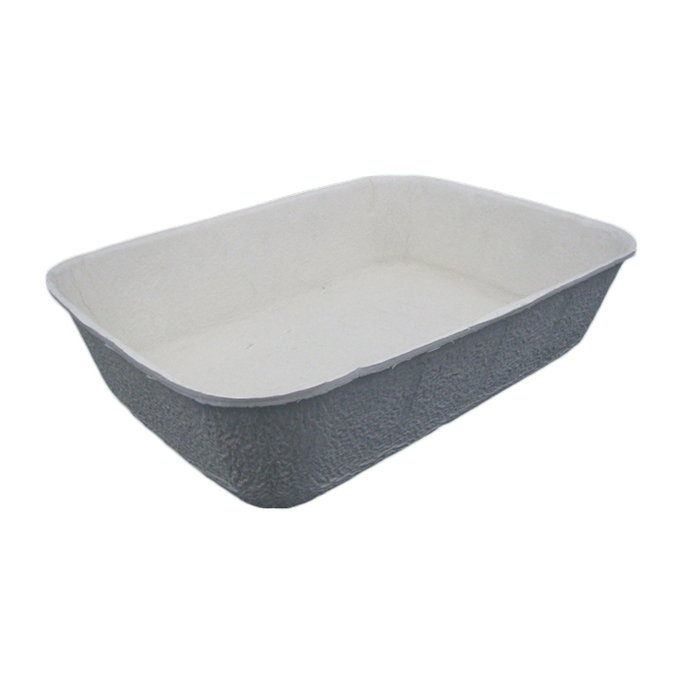 Comfortable eco-friendly disposable brown molded pulp cat litter box