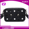 2016 wholesale new trendy mini classical black PU leather shoulder bags with rhinestones flowers and rivets studded