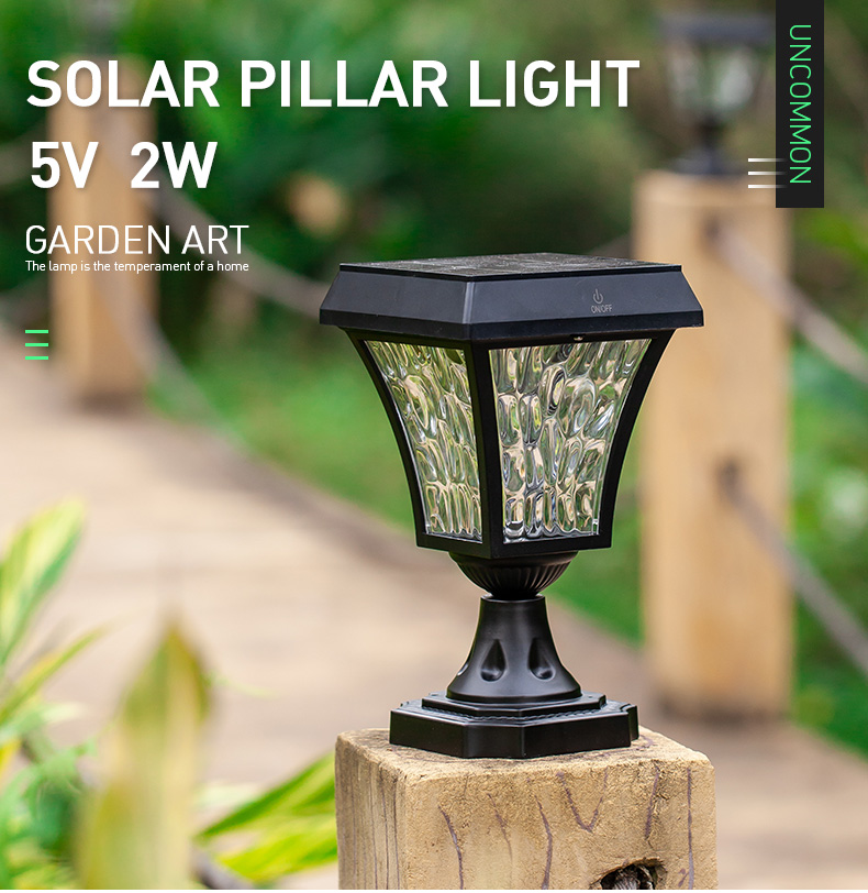 Aluminum Lamp Body Material Ip65 Waterproof Mini Solar Garden Fence Pillar Gate Led Post Lights With Touched Switch