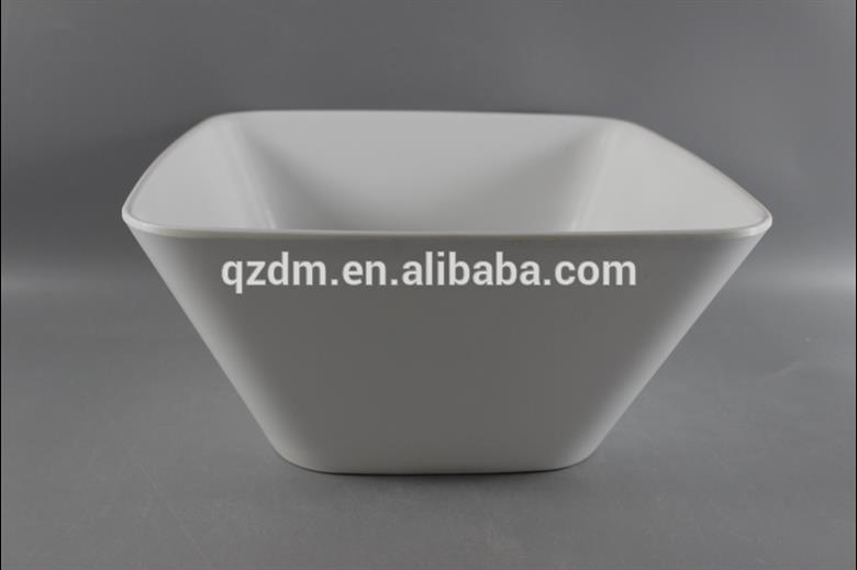 "9,75 ""Weißes Quadrat Melamin Schüssel Kunststoff Salat Schüssel"