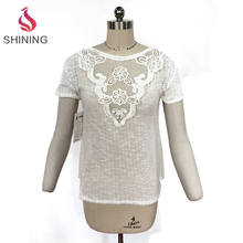 Elastic knitted Short Sleeves ounded woman t shirt with White Large Lace applique Piece attached at front