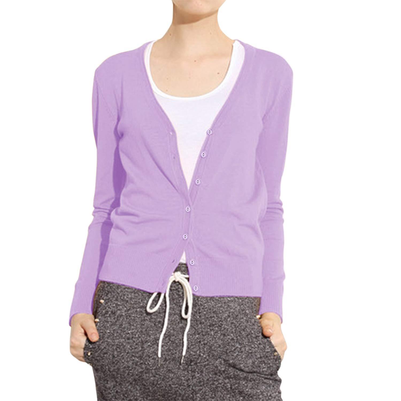 141e1faaf8 Cekaso Women s Long Sleeve Cardigan Classic Button Up V Neck Knit Cardigan  Sweater