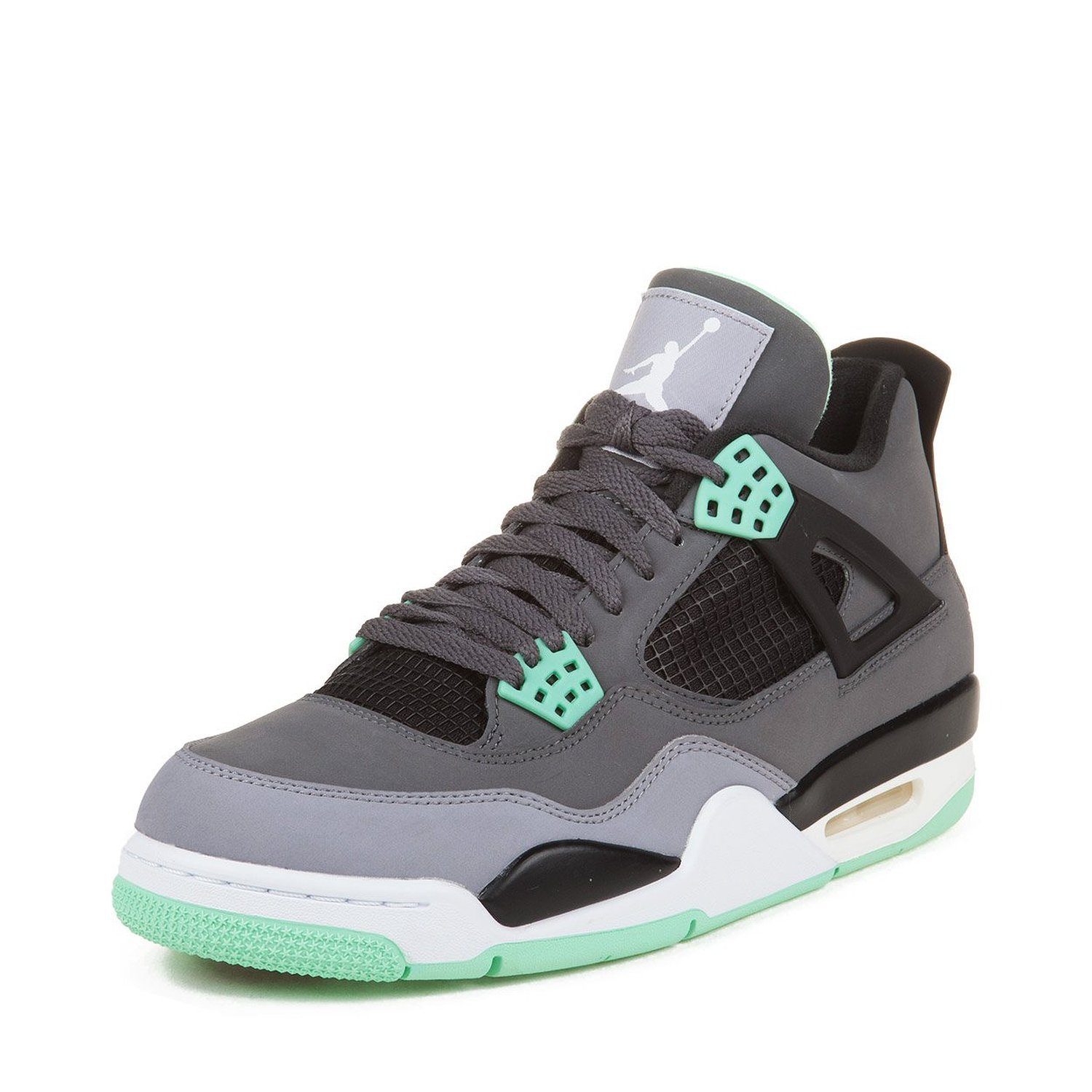 Nike Mens Air Jordan 4 Retro Dark Grey/Green Glow-Cement Grey Leather Basketball Shoes Size 14