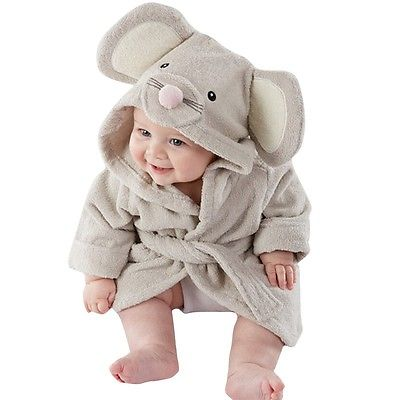Baby Infant Girl Boy Cotton Hooded Bath Towel Wrap Bathrobe Cute Cartoon Mouse Panda Bunny Design