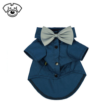 Pet wedding clothes formal black white shirts for cat dog with bow tie