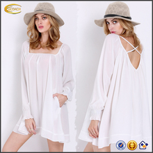 Ecoach 2016 New Stylish Summer White Long Sleeve Cross Back Chiffon Dress For Ladies