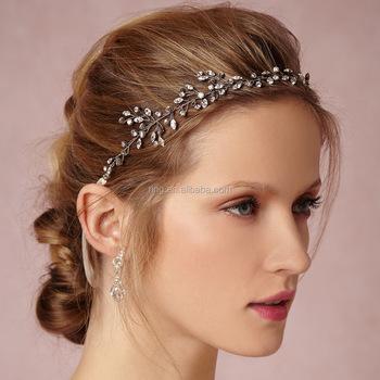 DIY Handmade Bridal Crystal Tiara Hair Vine Headbands Crown Bridal Hair  Headpiece with Satin Ribbon bb6ab1b09a4