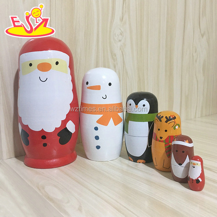 2018 Wholesale interesting nesting dolls 5 pcs wooden santa russian doll for kids W06D105