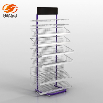 Exhibition Stand Shelves : Metal wire baskets layer shelves display lubricating oil display