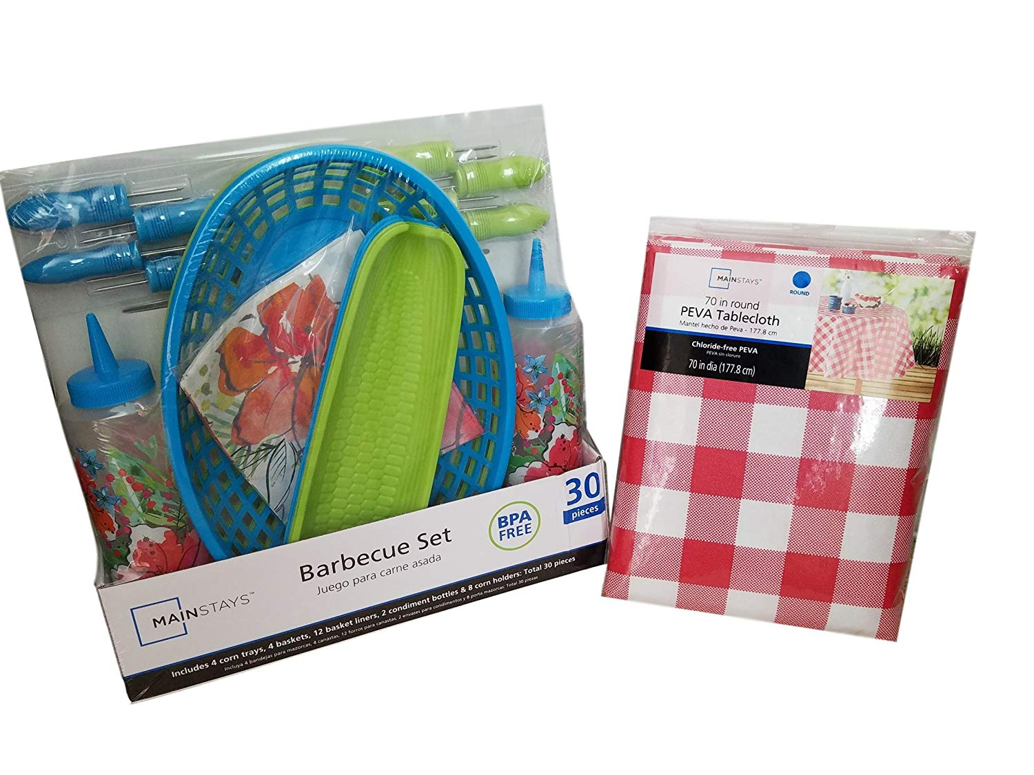 BBQ Picnic Serving Set with Plastic Hamburger Baskets, Floral Food Basket Liners, Corn Trays with Corn Cob Holders, Ketchup & Mustard Condiment Bottle Bundle with 70 inch Round Checkered Tablecloth