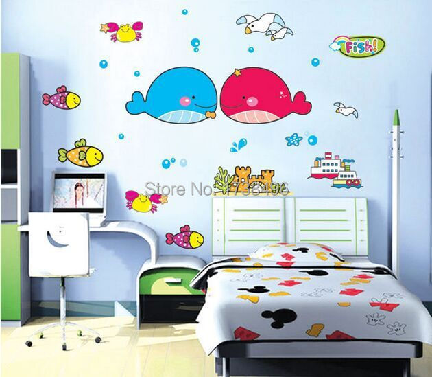 House Decoration Craft Kissing Fish Home Furnishings: 1 Set 48*63 Inch Removable PVC Wallpaper Kids Bedroom