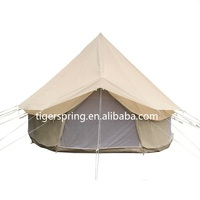 camping bell tent with waterproof roof tarp shelter
