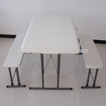 Hdpe Outdoor Plastic Folding Dining Table Set Plastic Table And Bench Blow Mo