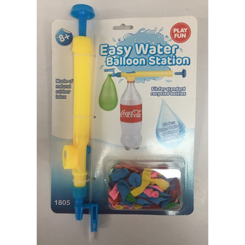 Plastic water balloon pump filler with Pepsi Cola bottle