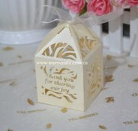 Customized gift boxes laser cut light gold pearl wedding candy favor box