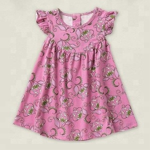 Children's clothing cotton floral print pinky little girl dress