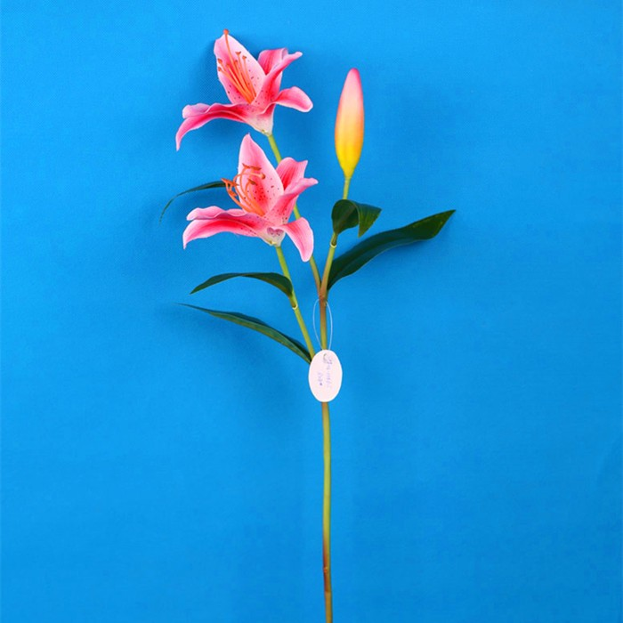 Single stem Artificial pink lily decorative flower for display