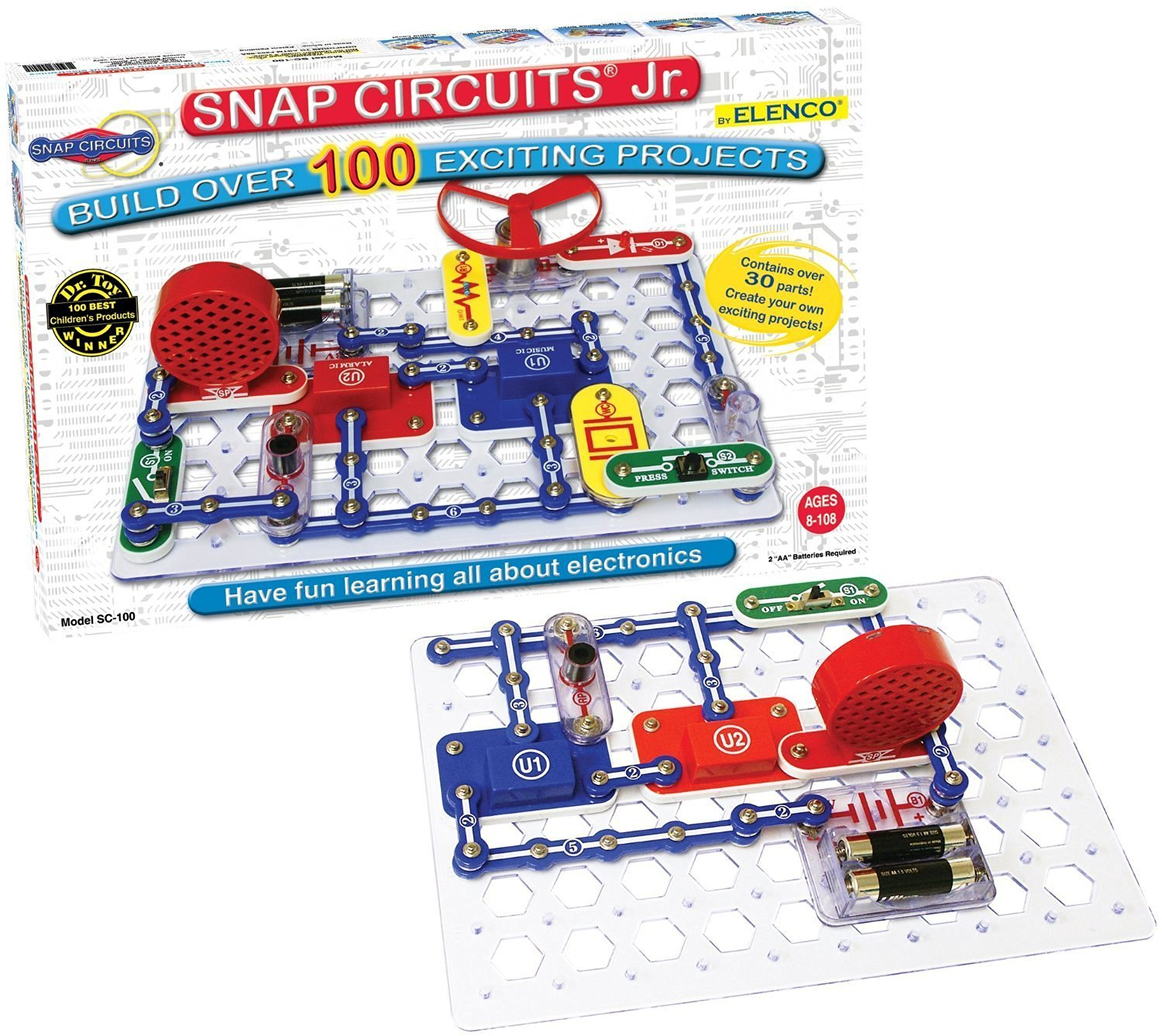 Snap Circuits Jr. SC-100 Electronics Discovery Kit CustomerPackageType: Frustration-Free Packaging, Model: SC-100B, Toys & Play
