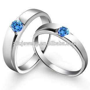 2016 Romantic Blue Diamond Couple Wedding Ring Stainless Steel ...