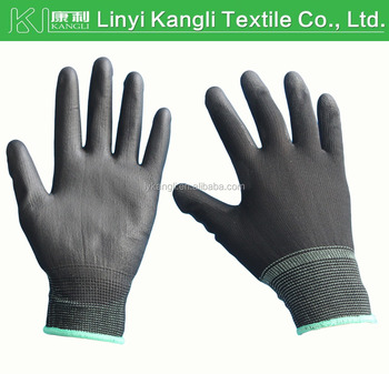 13G Knitted Black Nylon PU coated Gloves work safety gloves
