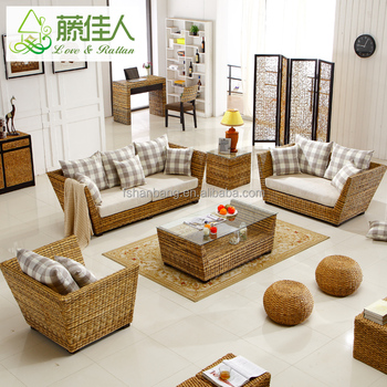 Vintage Leisure Style Real Rattan Wicker Living Room Sofa Furniture Set Indoor Product On