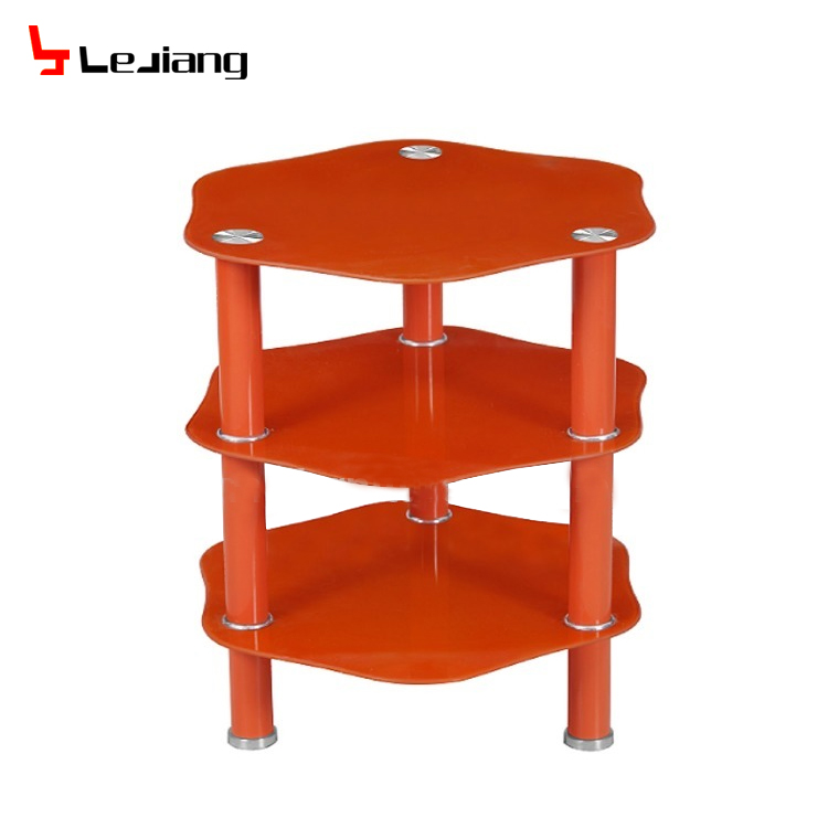 living room furniture 3 layer red painting tempered glass metal coffee table