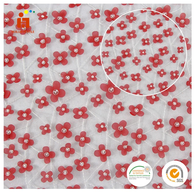 Latest design 3D Mesh polyester Laser Cut flower african embroidery lace fabric for wedding dress