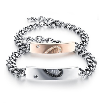 aea41e6fd3 Anniversary Unique Gift Stainless Steel Couple Bracelet with Diamonds  Titanium Heart lock Matching Link Chain Bangle