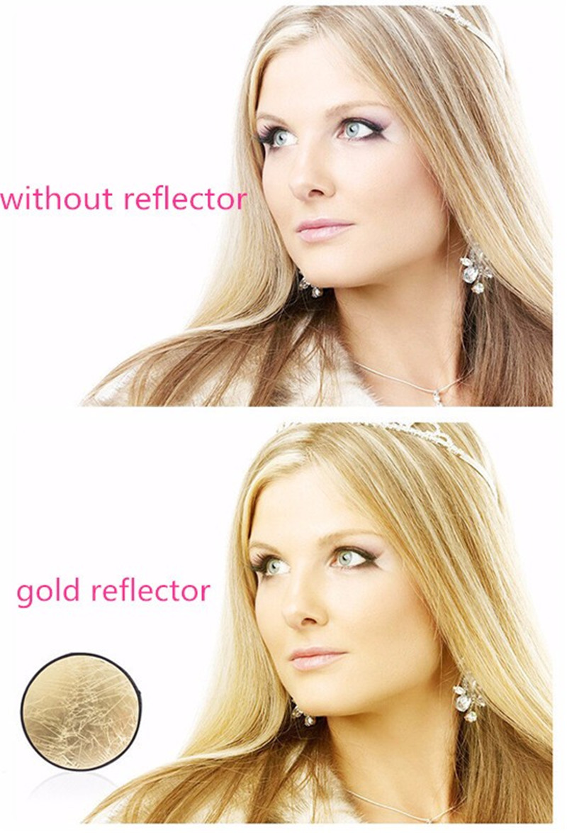 "2 in 1 60*90cm/24"" x 36"" Photography Gold Silver Light Mulit Collapsible Portable Photo Reflector for Studio Flash Lamp"