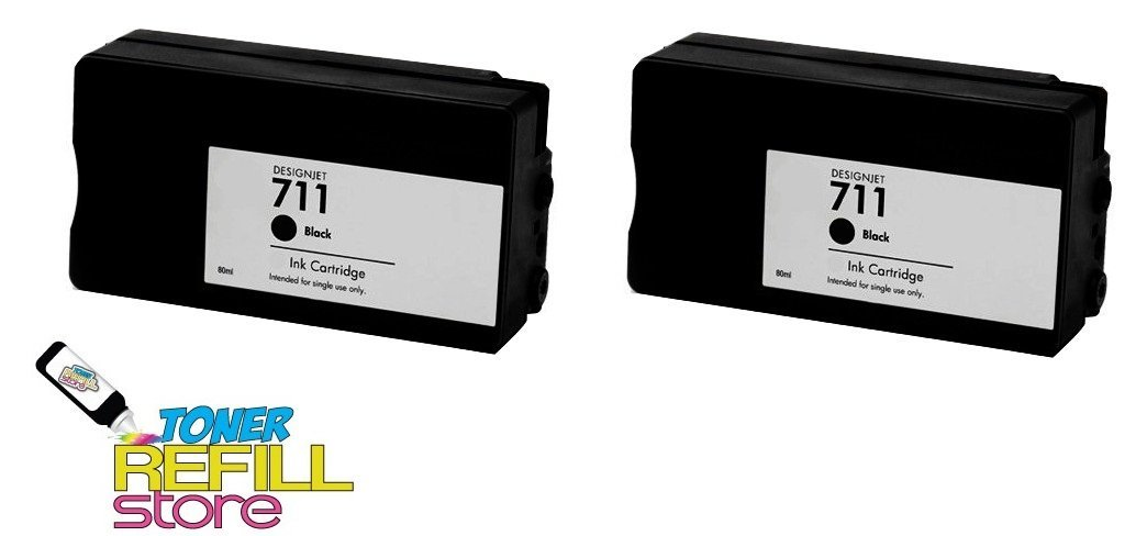 Toner Refill Store™ 2 Pack Compatible Replacement HP 711 Black CZ133A Ink Cartridges for use in the Hewlett Packard DesignJet T120, and HP DesignJet 520 printer models by NorthLand Wholesale
