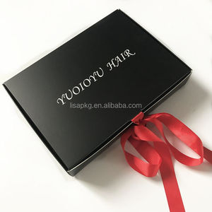 Custom Cheap Black Food grade paper packaging box with ribbon for hair